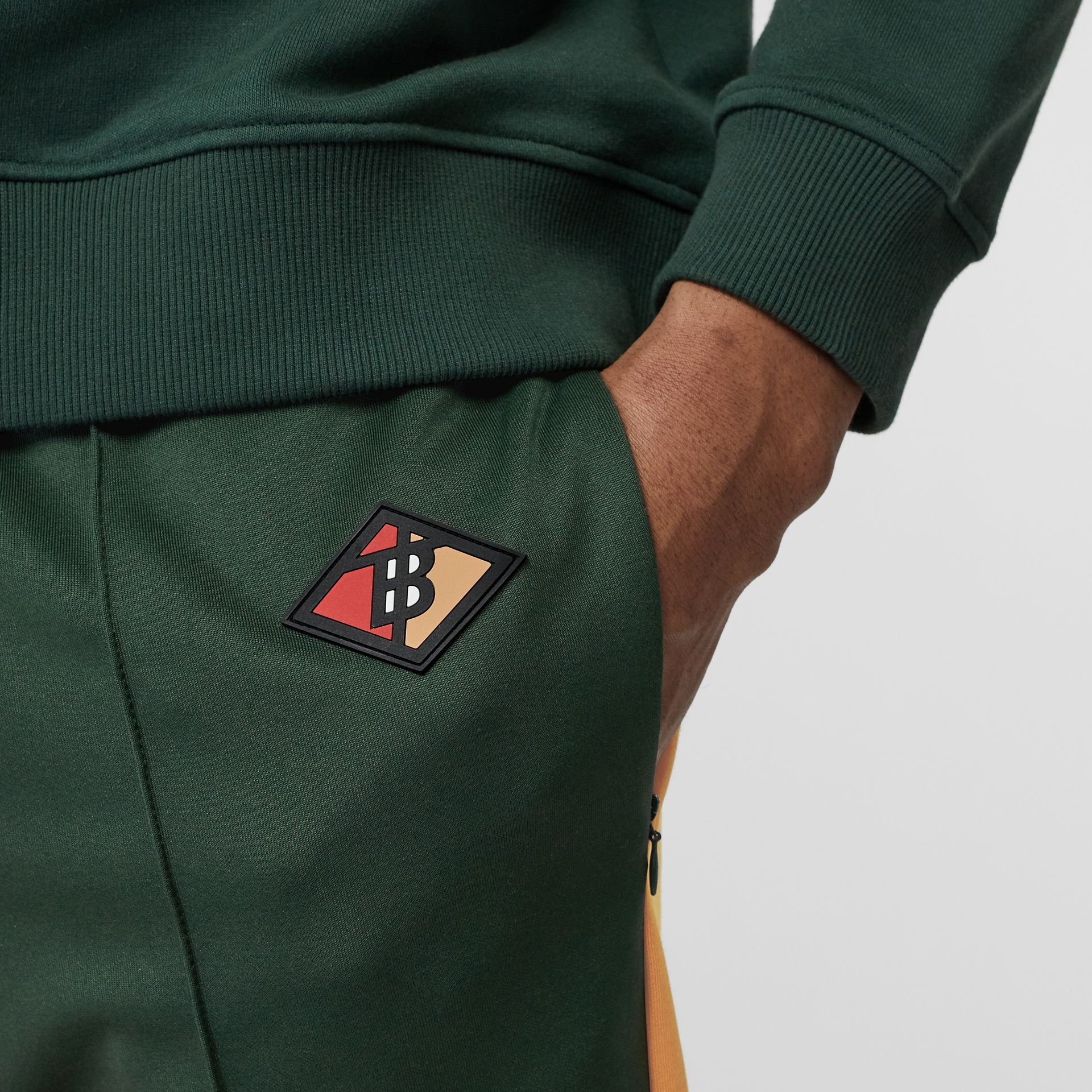 Logo Graphic Colour Block Jersey Trackpants in Dark Pine Green - Men | Burberry United Kingdom - gallery image 5