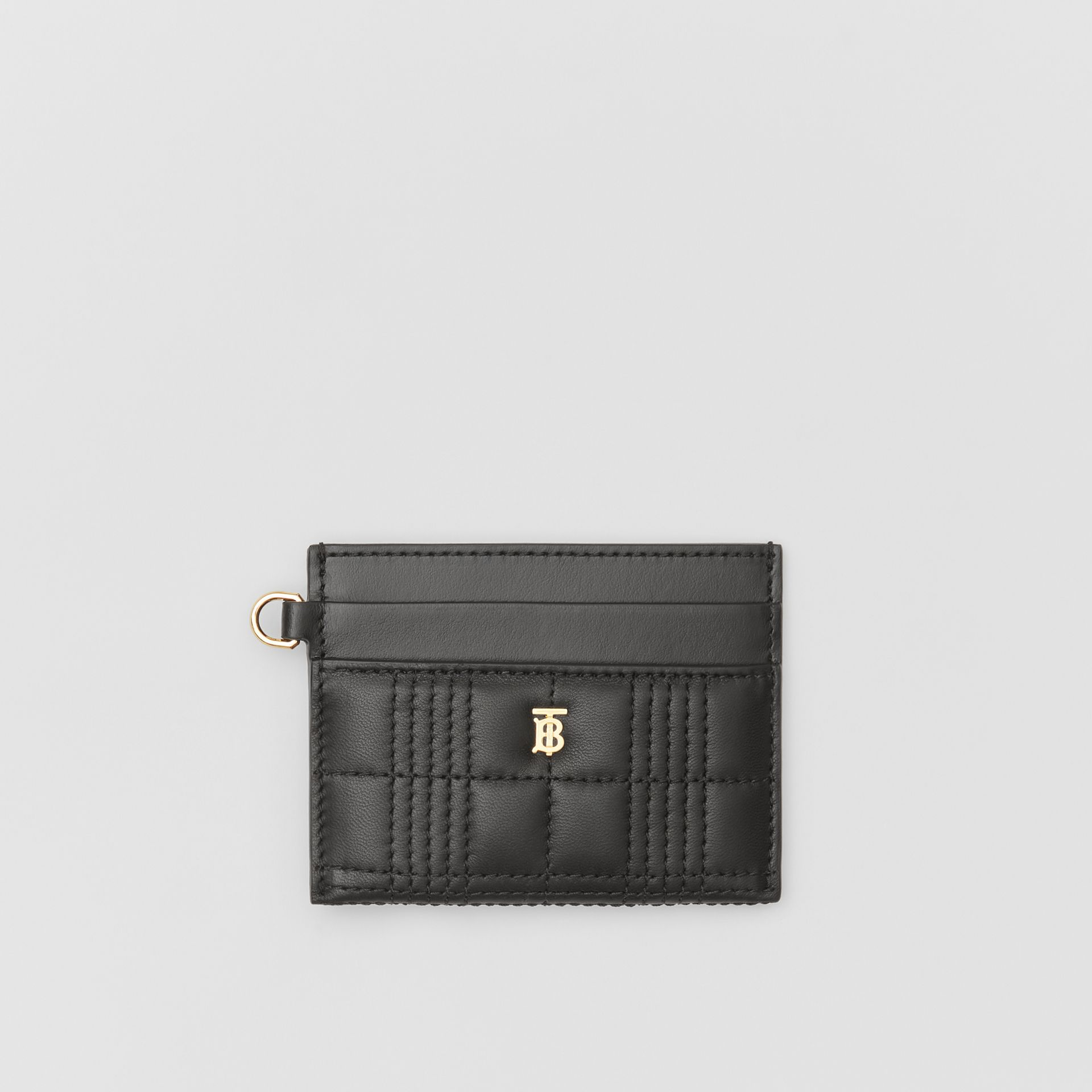 Monogram Motif Quilted Lambskin Card Case in Black - Women | Burberry - gallery image 0