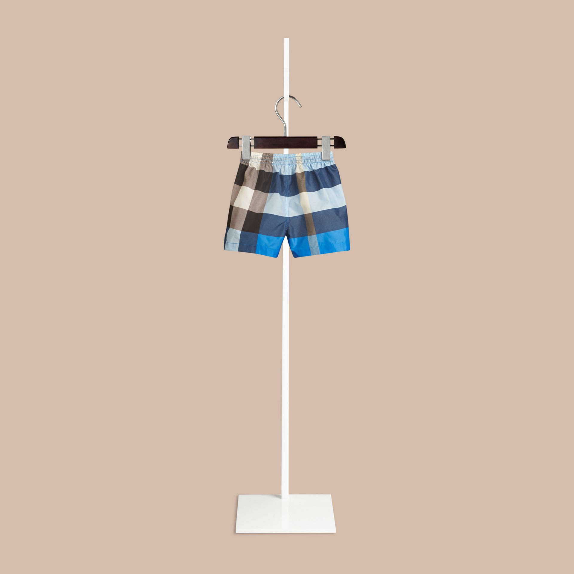 Check Swim Shorts in Cerulean Blue | Burberry Canada - gallery image 1