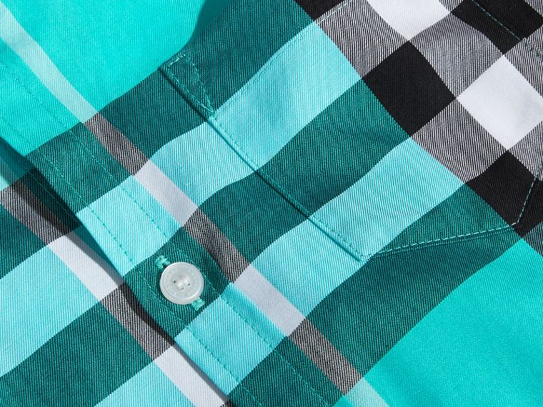 Short-sleeve Check Cotton Twill Shirt in Cyan Green - Boy | Burberry - cell image 1