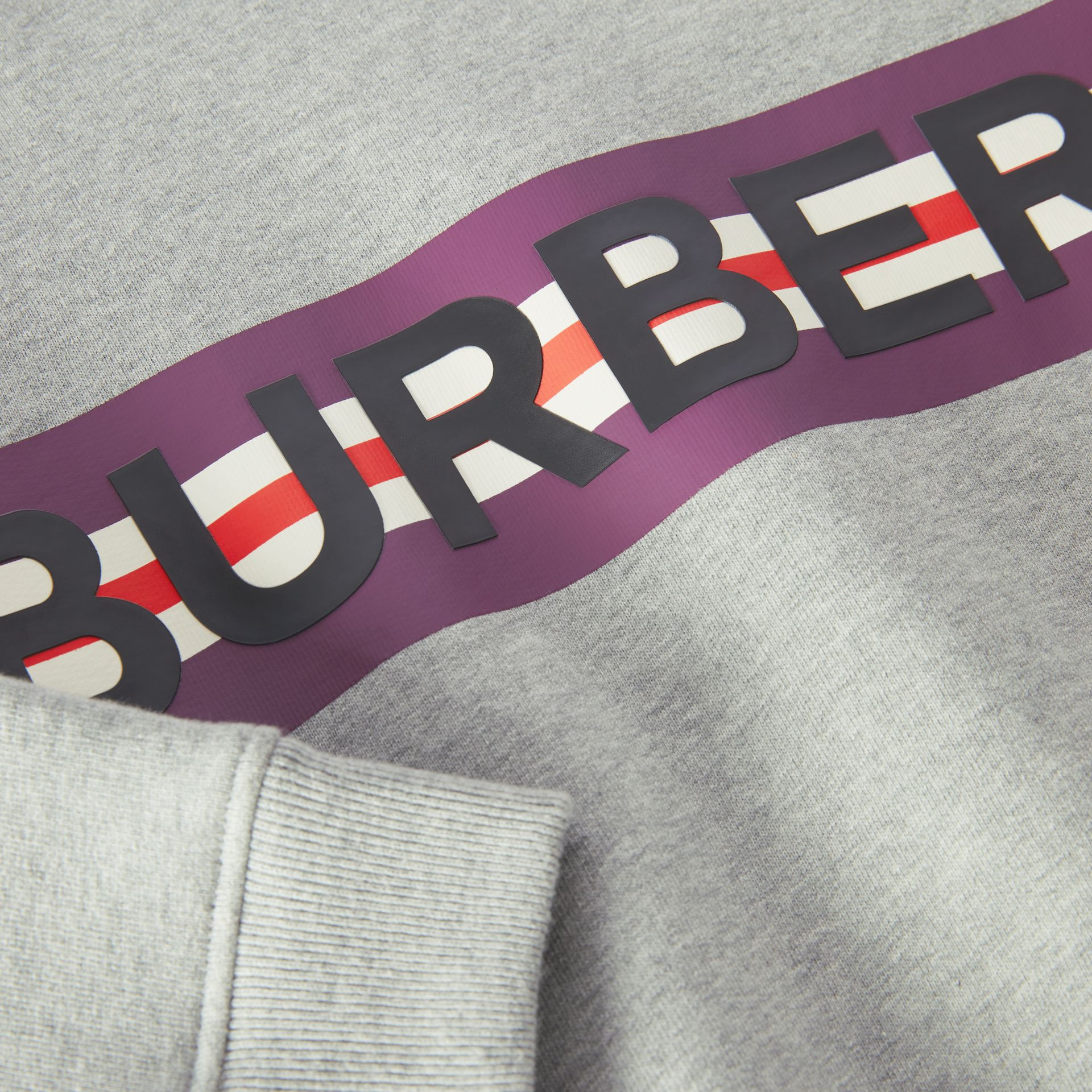 Logo Print Jersey Sweatshirt in Grey Melange | Burberry United Kingdom - gallery image 1