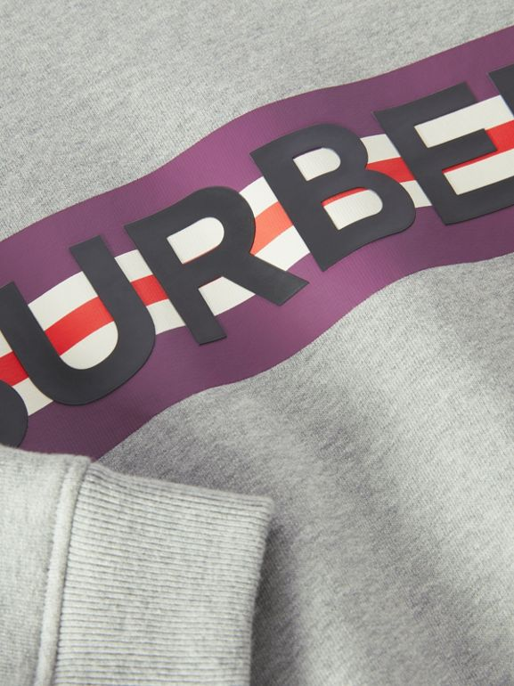 Logo Print Jersey Sweatshirt in Grey Melange | Burberry - cell image 1