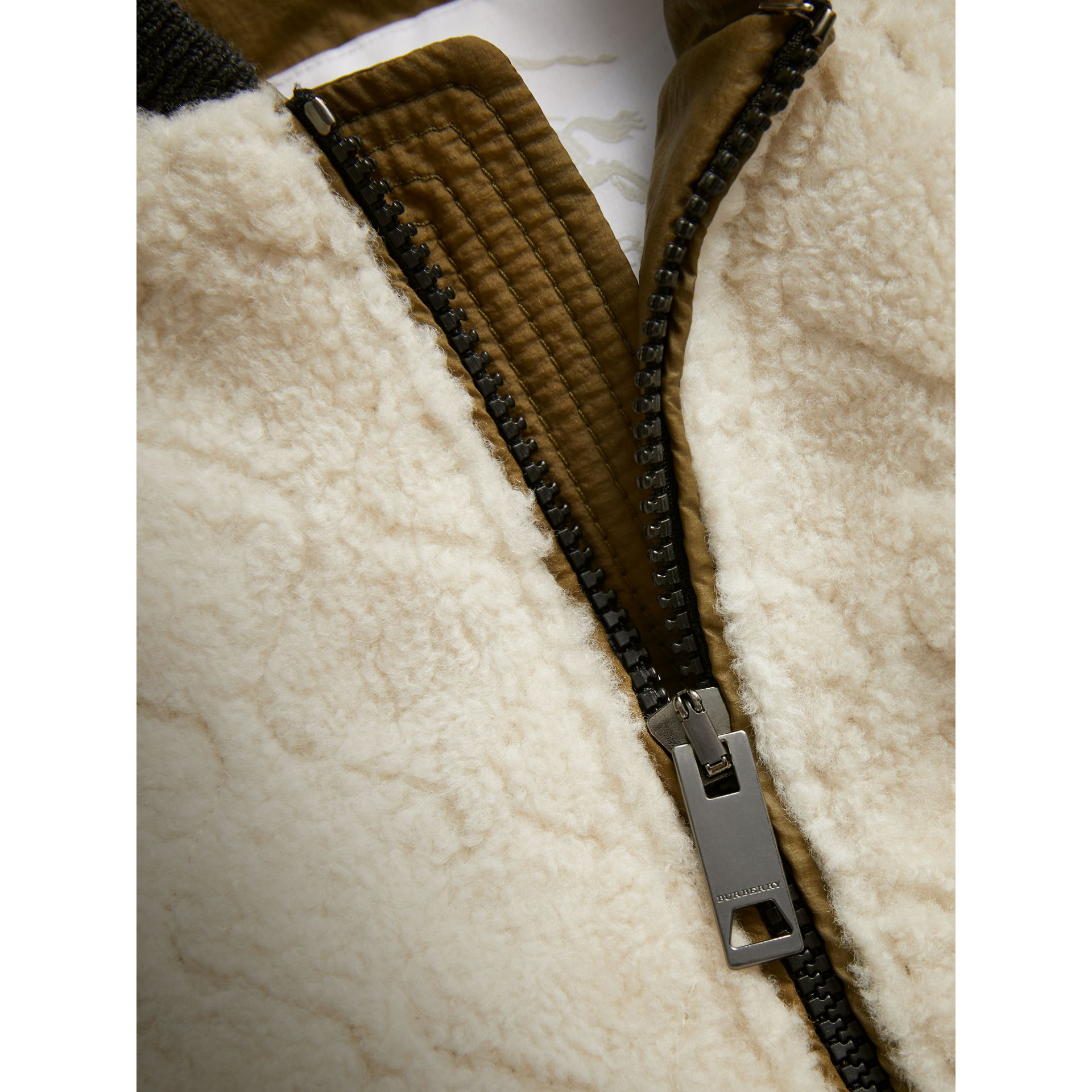 Contrast Sleeve Lamb Shearling Bomber Jacket in Natural White | Burberry Australia - gallery image 1