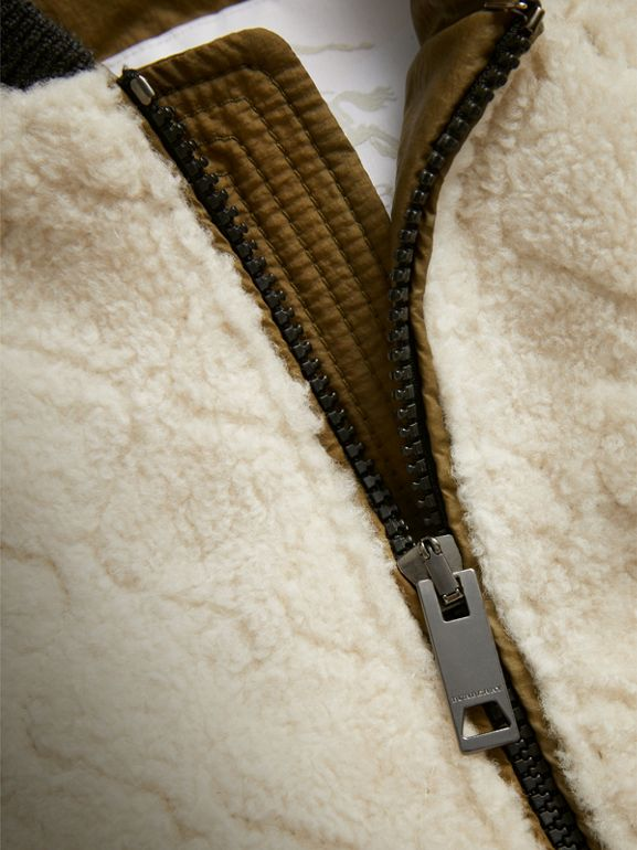 Contrast Sleeve Lamb Shearling Bomber Jacket in Natural White | Burberry - cell image 1