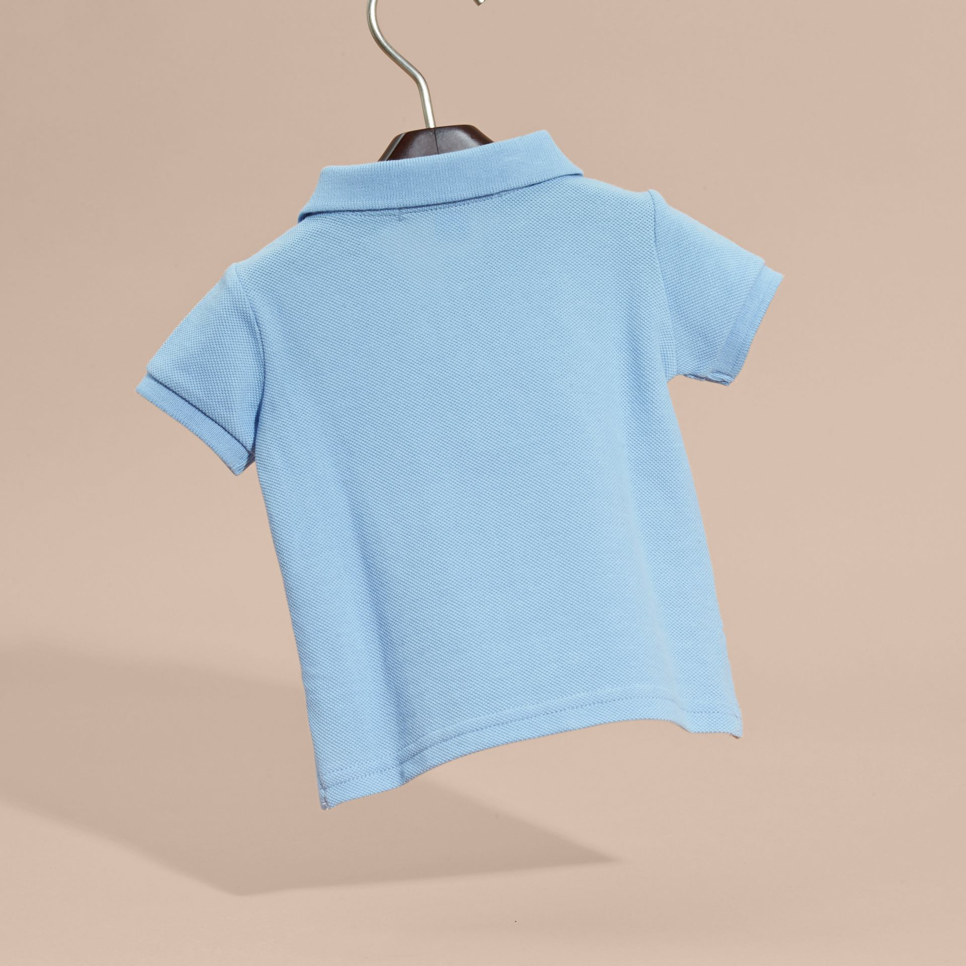 Cotton Piqué Polo Shirt Light Blue - gallery image 4