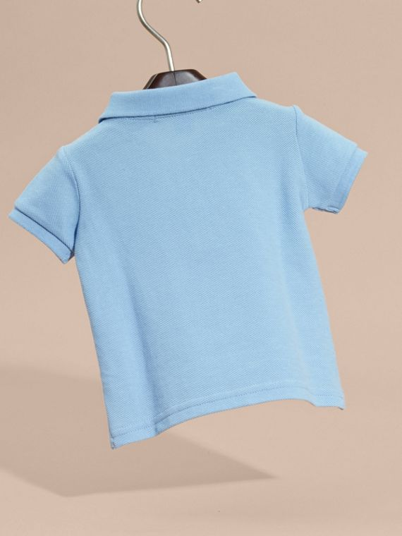 Cotton Piqué Polo Shirt Light Blue - cell image 3