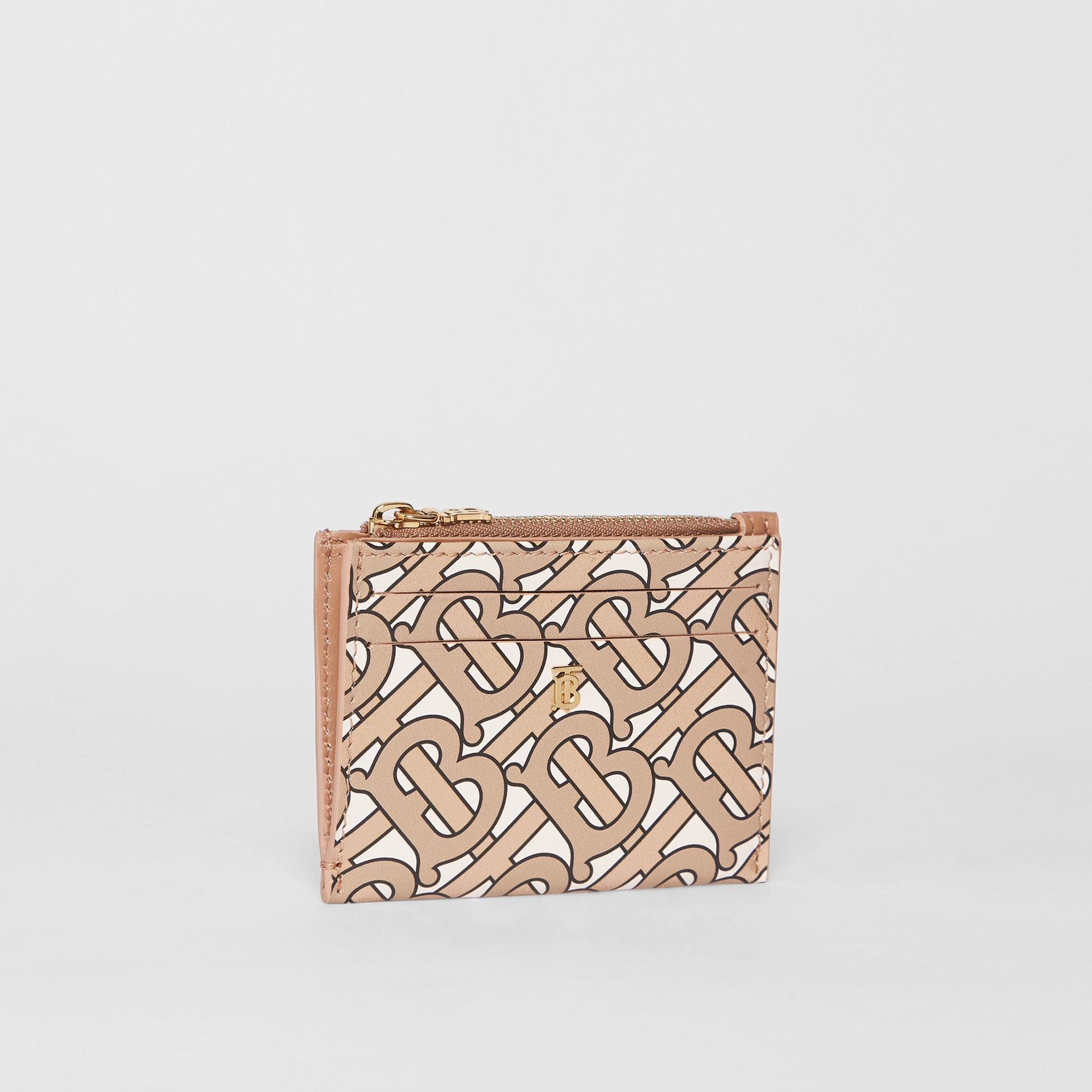 Monogram Print Leather Zip Card Case in Beige - Women | Burberry - gallery image 3