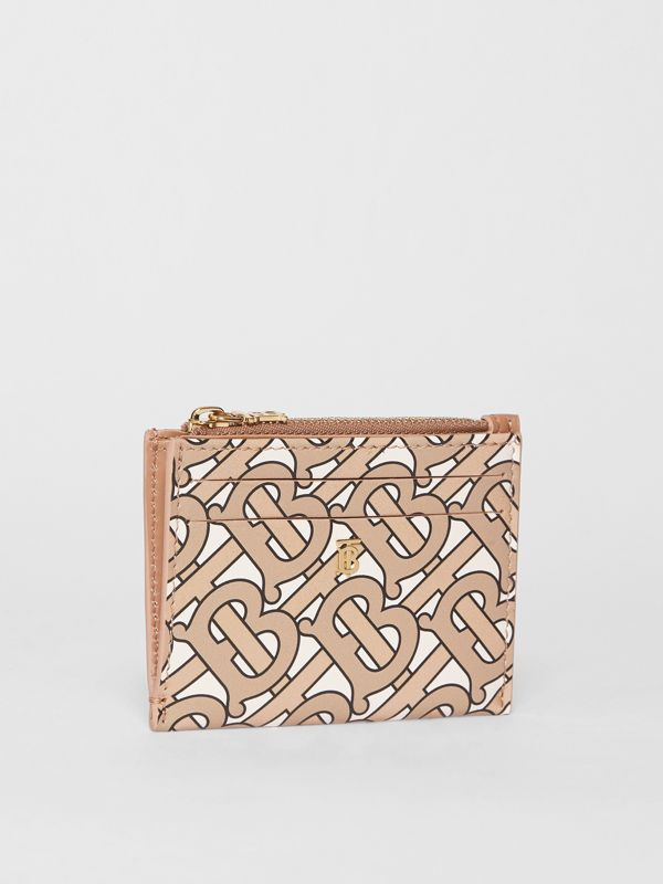 Monogram Print Leather Zip Card Case in Beige - Women | Burberry - cell image 3