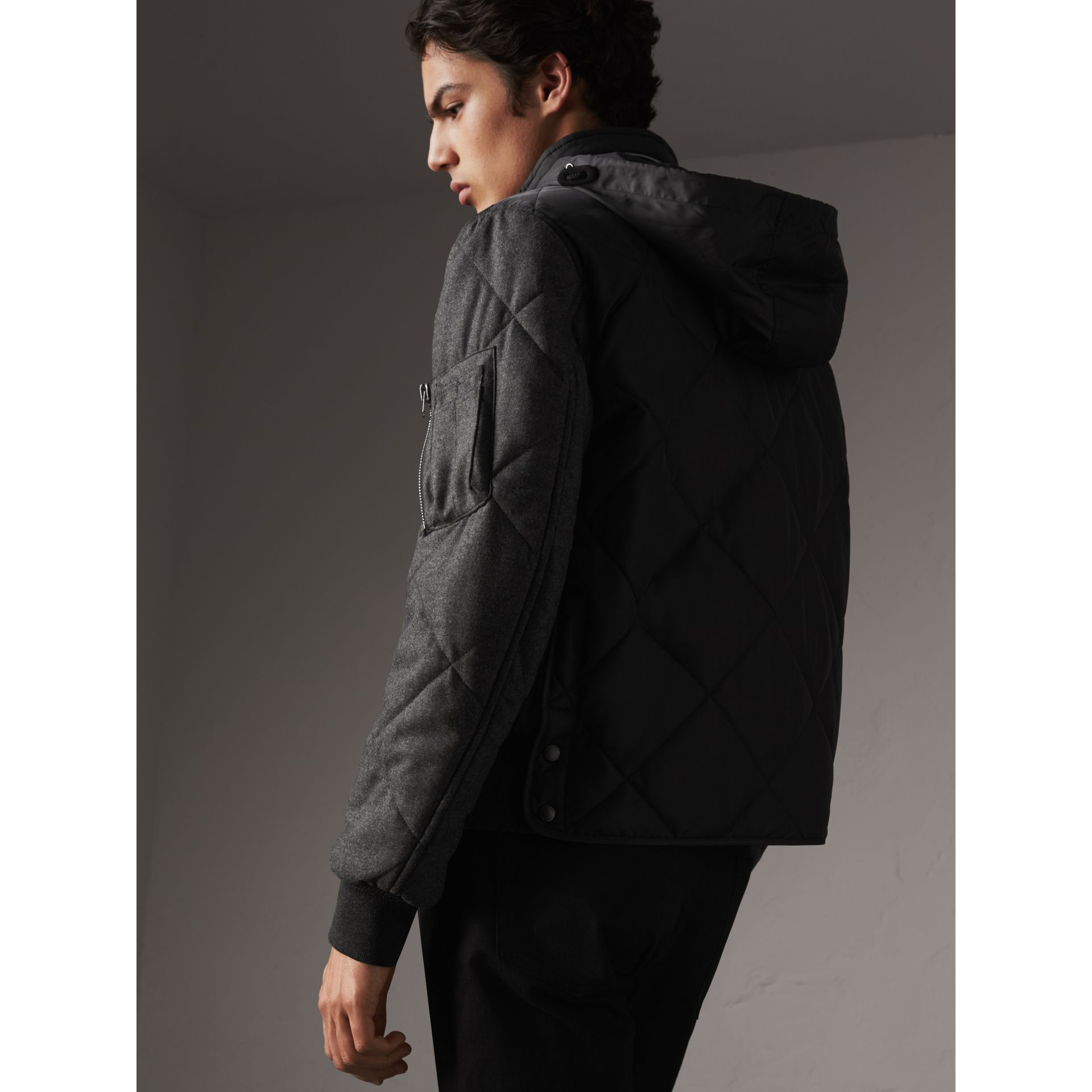Packaway Hood Wool-sleeve Quilted Bomber Jacket in Black - Men | Burberry - gallery image 3