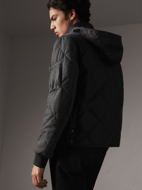 Packaway Hood Wool-sleeve Quilted Bomber Jacket in Black - Men | Burberry - cell image 2