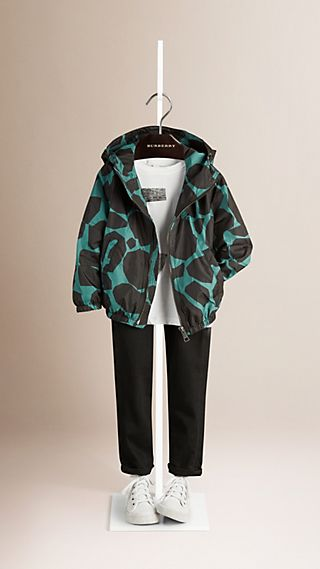 Giraffe Print Lightweight Jacket with Hood