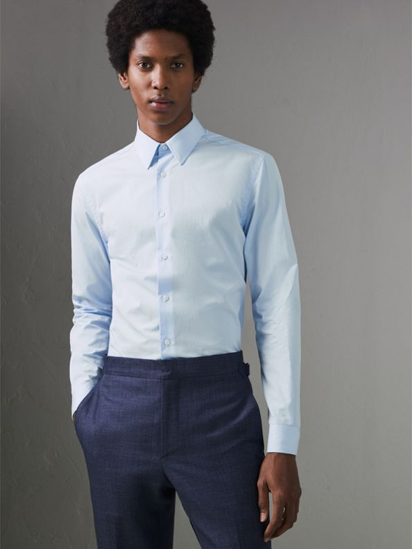 Slim Fit Cotton Poplin Shirt in City Blue