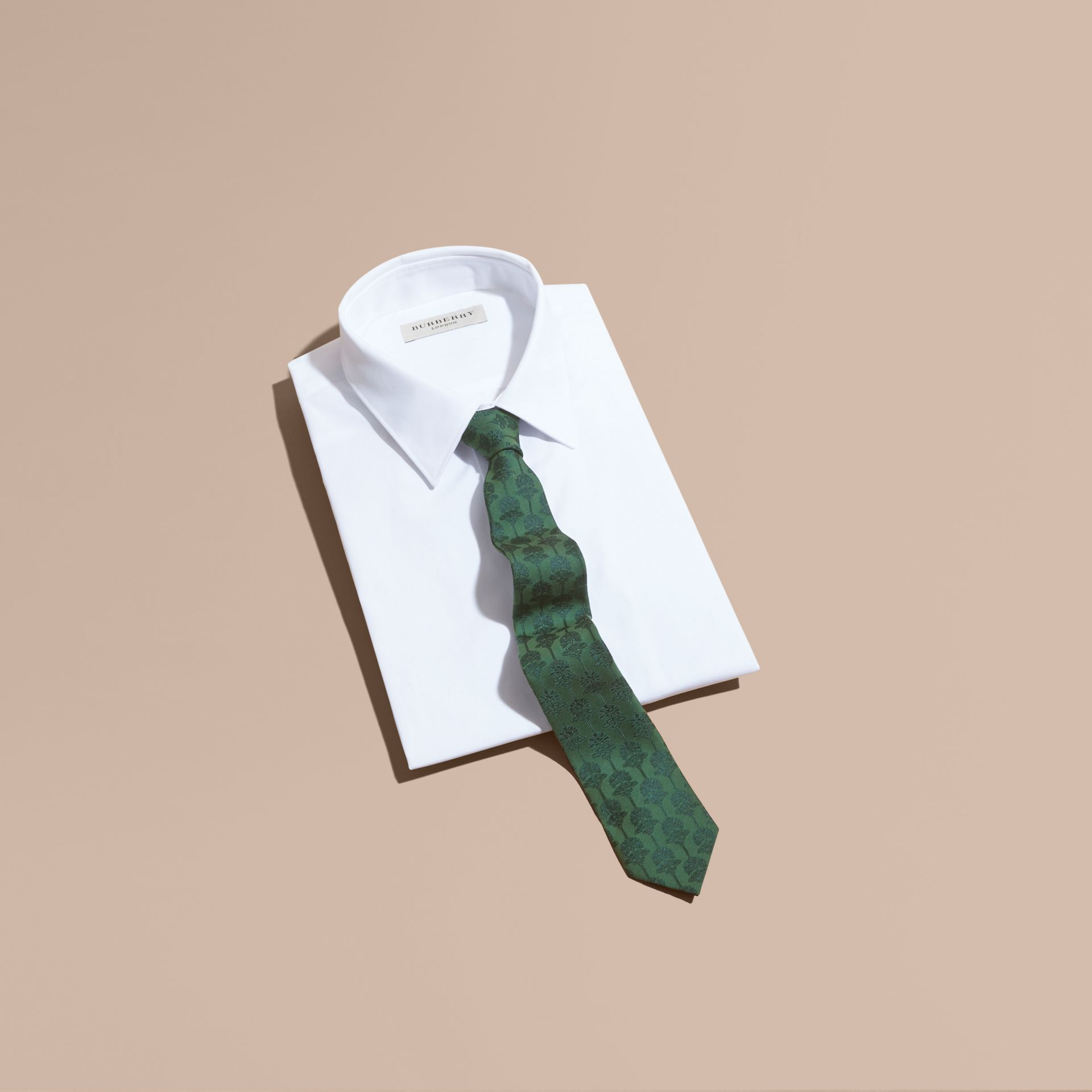 Slim Cut Floral Jacquard Silk Cotton Tie in Pine Green - Men | Burberry Singapore - gallery image 4
