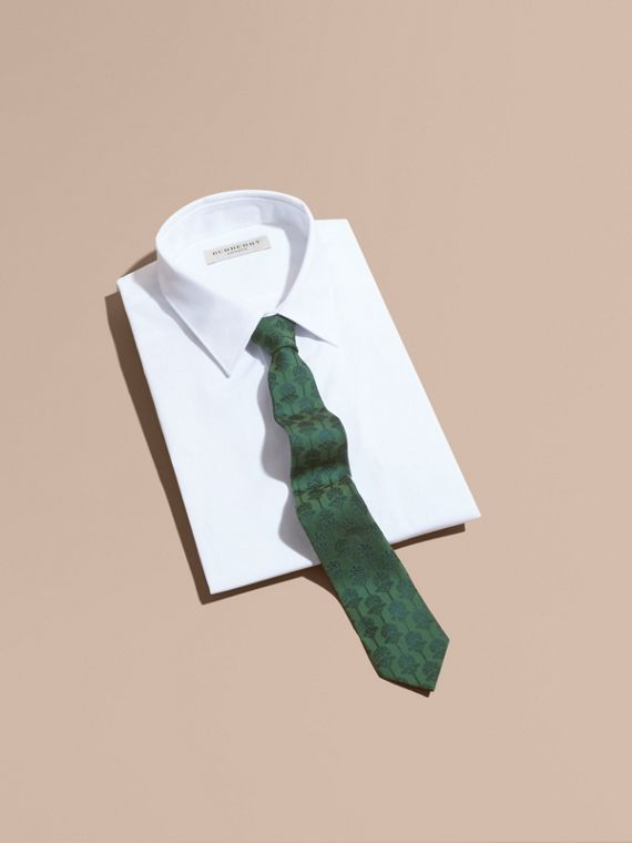 Slim Cut Floral Jacquard Silk Cotton Tie in Pine Green - Men | Burberry - cell image 3