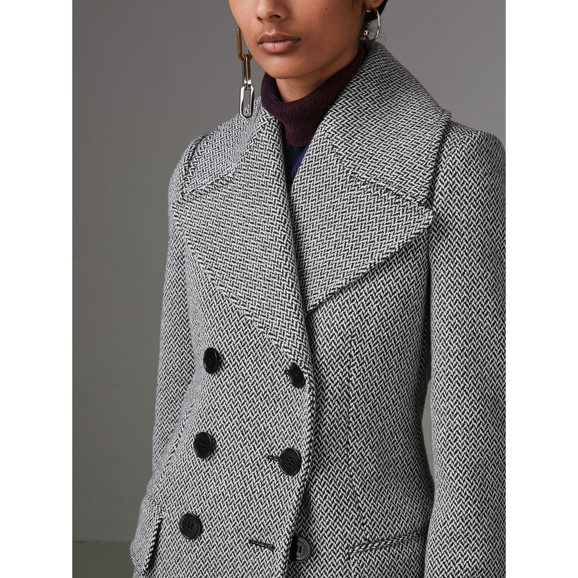 Herringbone Wool Blend Tailored Coat in Black/white - Women | Burberry United Kingdom - gallery image 1