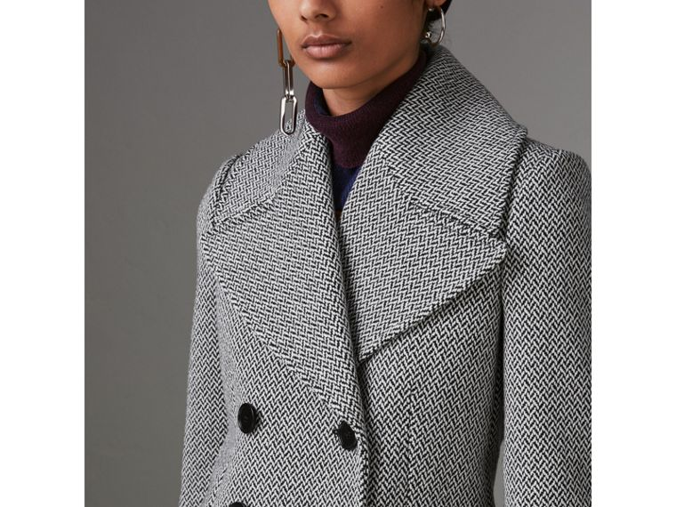 Herringbone Wool Blend Tailored Coat in Black/white - Women | Burberry - cell image 1
