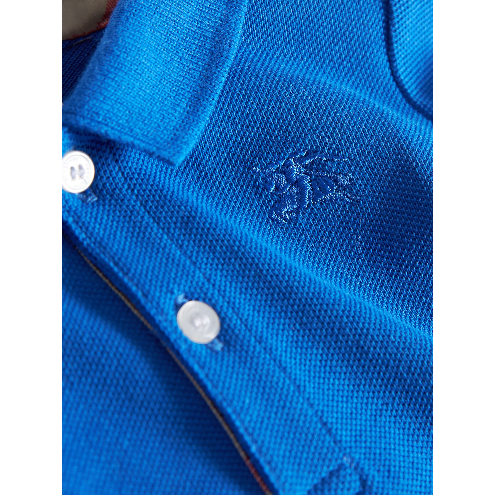 Check Placket Cotton Piqué Polo Shirt in Cobalt Blue | Burberry - gallery image 1