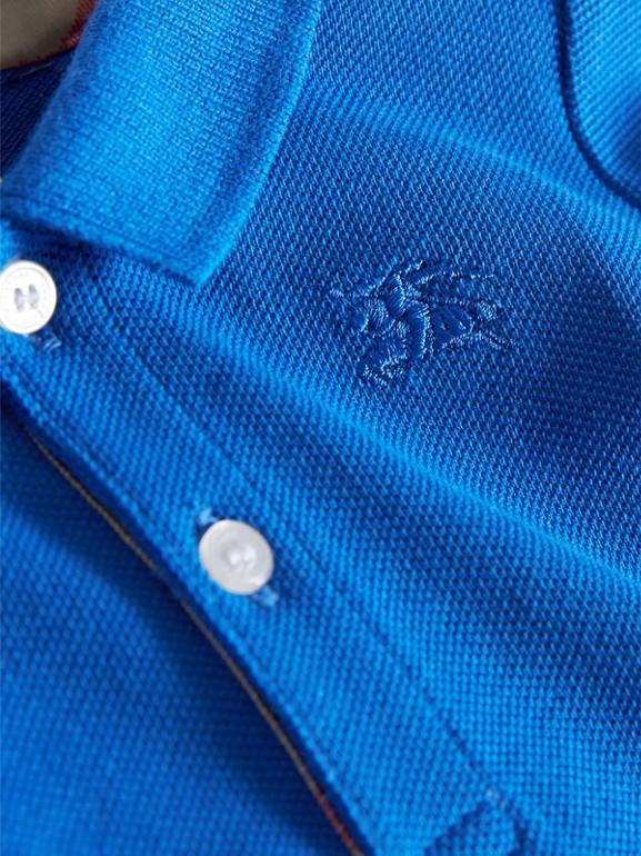 Check Placket Cotton Piqué Polo Shirt in Cobalt Blue | Burberry - cell image 1
