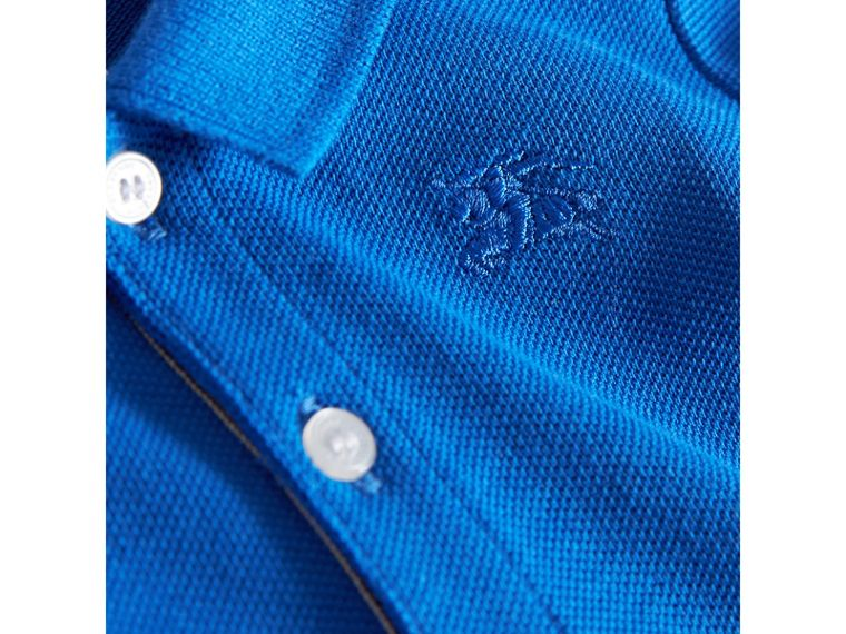 Check Placket Cotton Piqué Polo Shirt in Cobalt Blue | Burberry - cell image 1