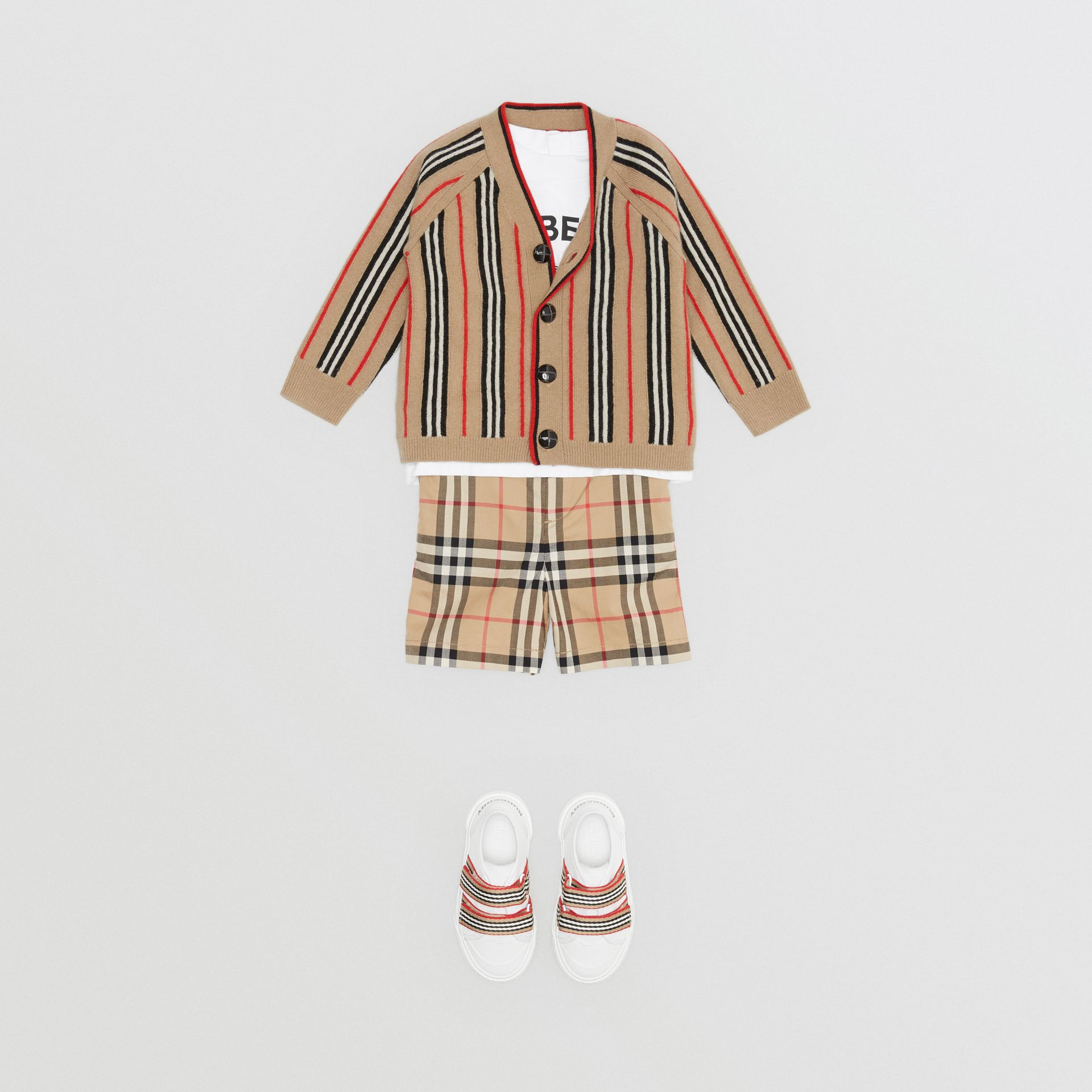 Icon Stripe Wool Cashmere Cardigan in Archive Beige - Children | Burberry Canada - gallery image 2