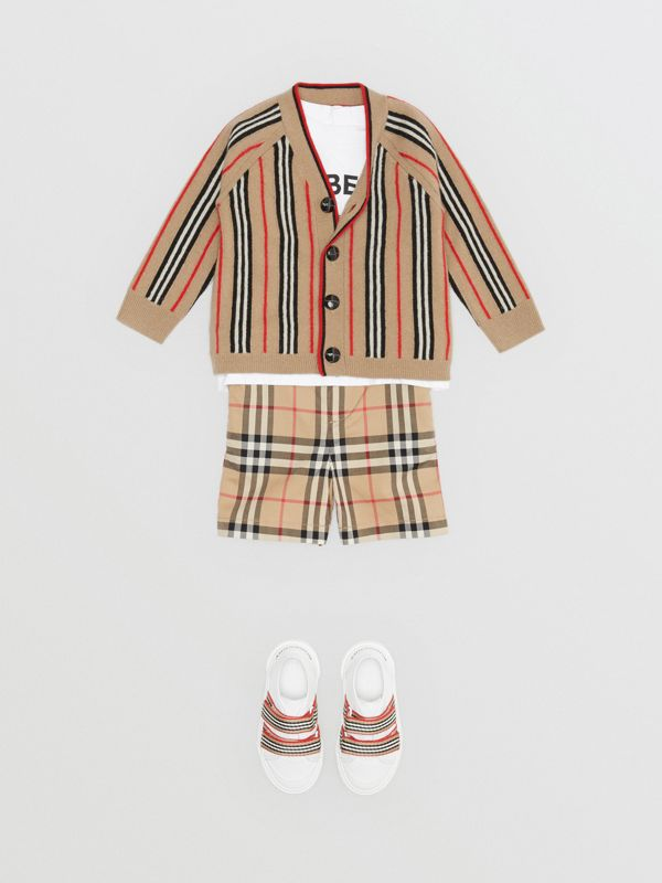 Icon Stripe Wool Cashmere Cardigan in Archive Beige - Children | Burberry United States - cell image 2