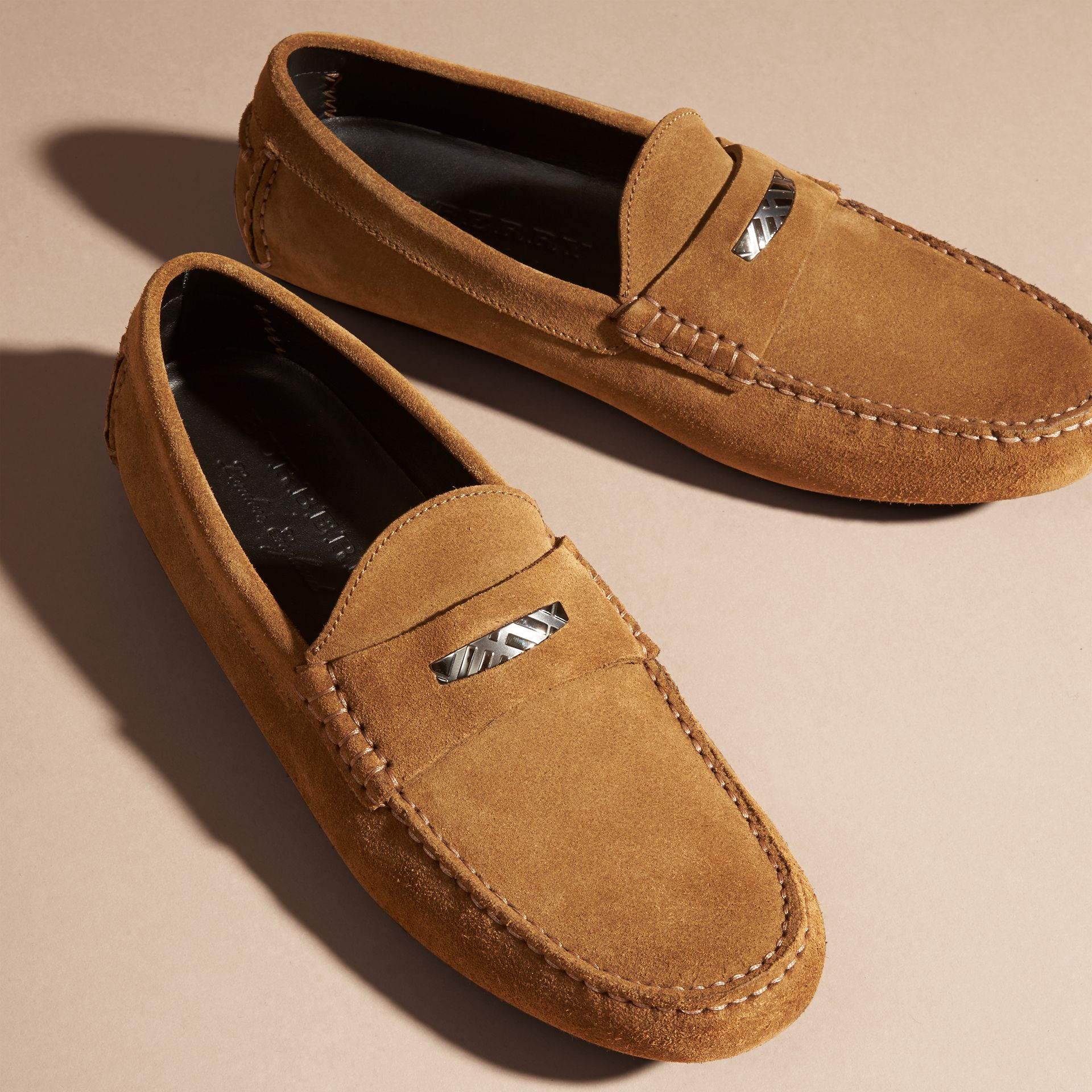 Caramel Suede Loafers with Engraved Check Detail Caramel - gallery image 3