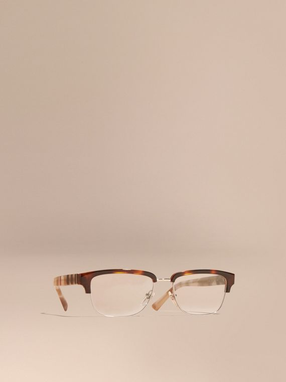 Half-rimmed Oval Optical Frames Light Russet Brown