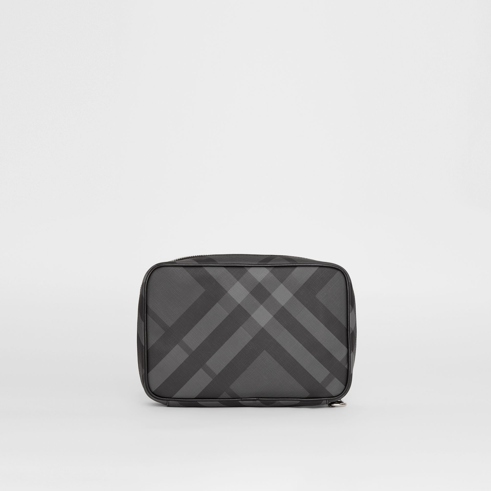 London Check Travel Pouch in Charcoal/black - Men | Burberry - gallery image 7