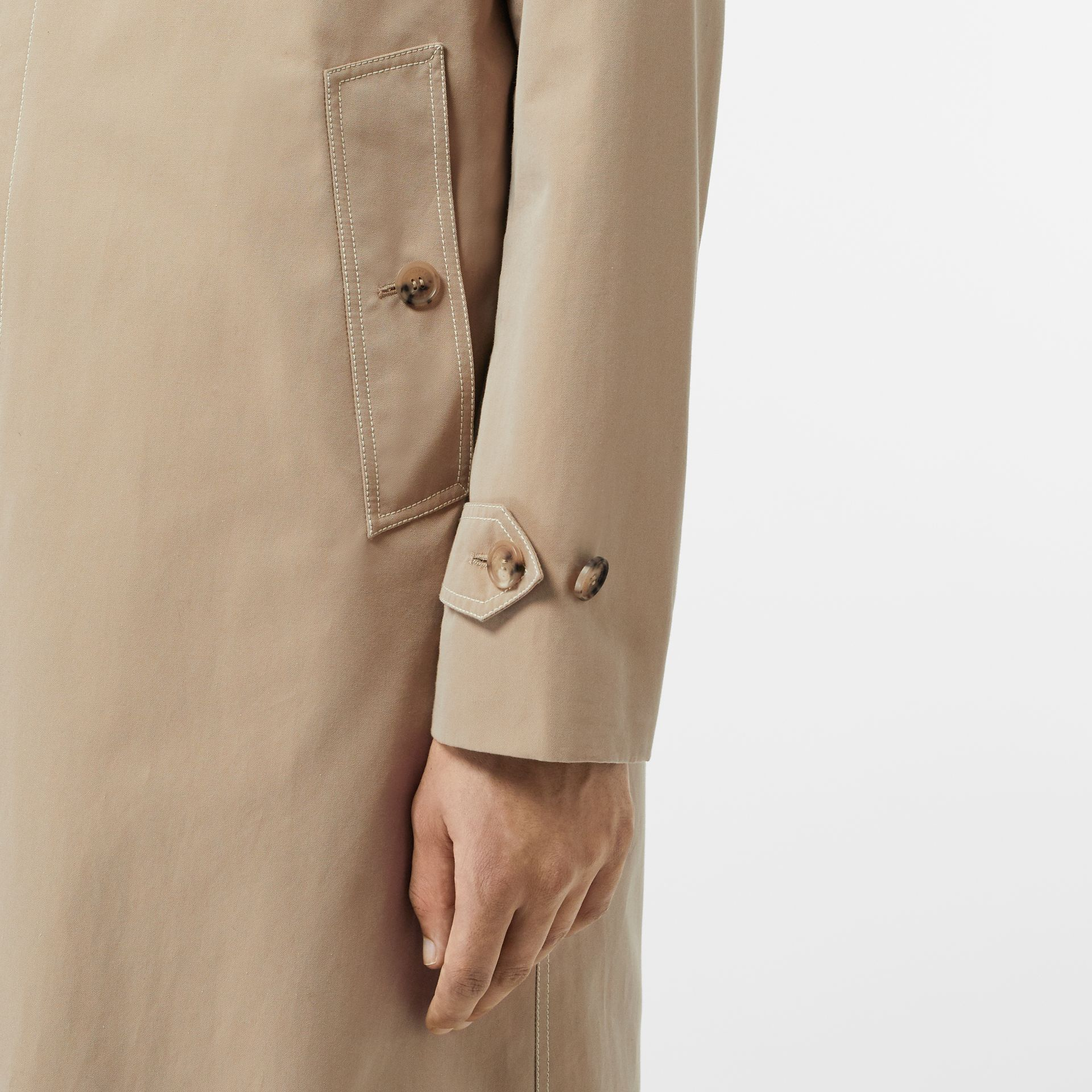 Linen Collar Button Panel Cotton Car Coat in Honey | Burberry Australia - gallery image 4