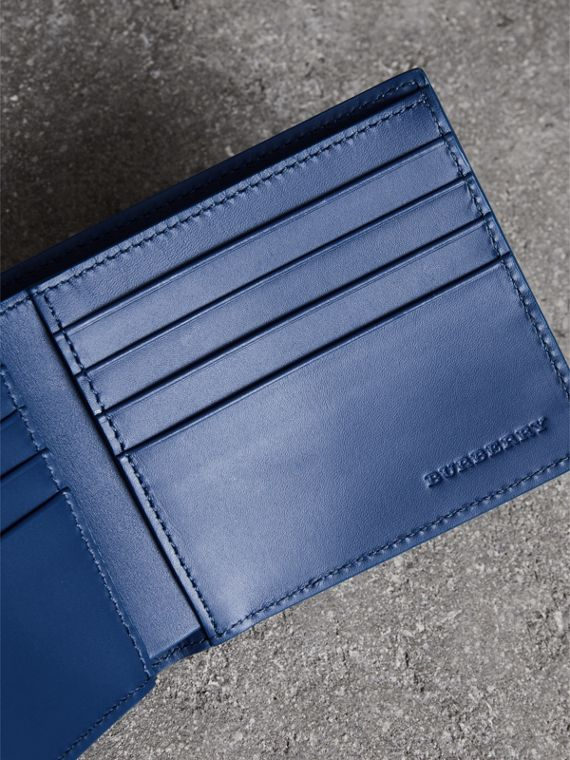 Grainy Leather International Bifold Wallet in Bright Ultramarine - Men | Burberry Canada - cell image 3