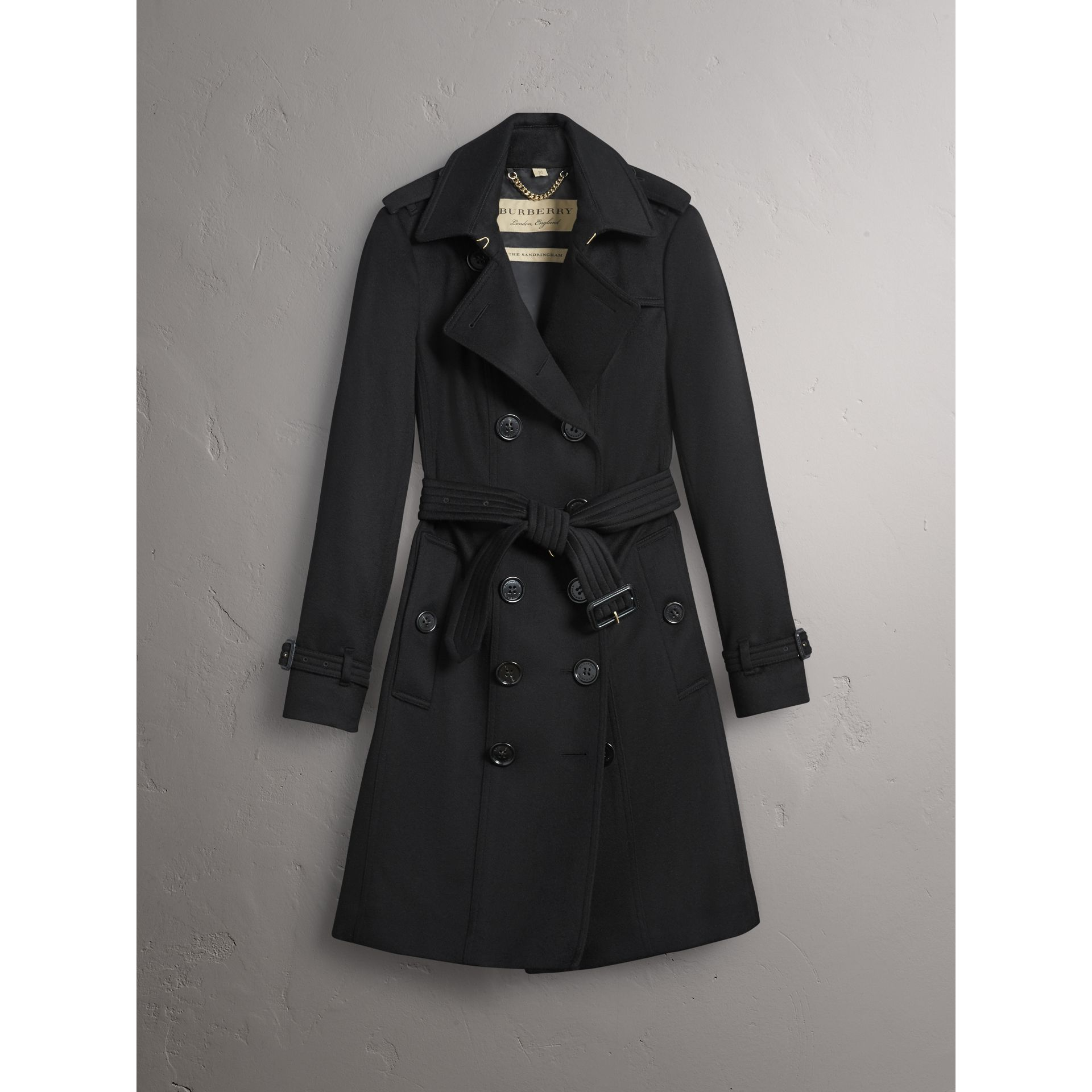 Sandringham Fit Cashmere Trench Coat in Black - Women | Burberry - gallery image 3