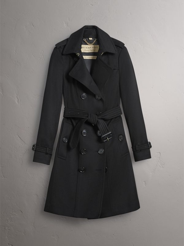 Sandringham Fit Cashmere Trench Coat in Black - Women | Burberry - cell image 3