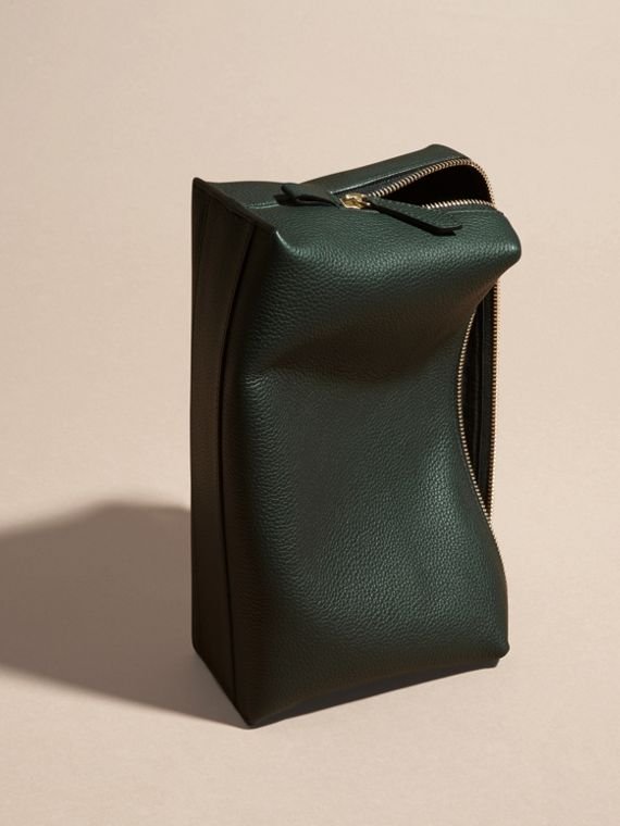 Dark forest green Grainy Leather Washbag Dark Forest Green - cell image 3