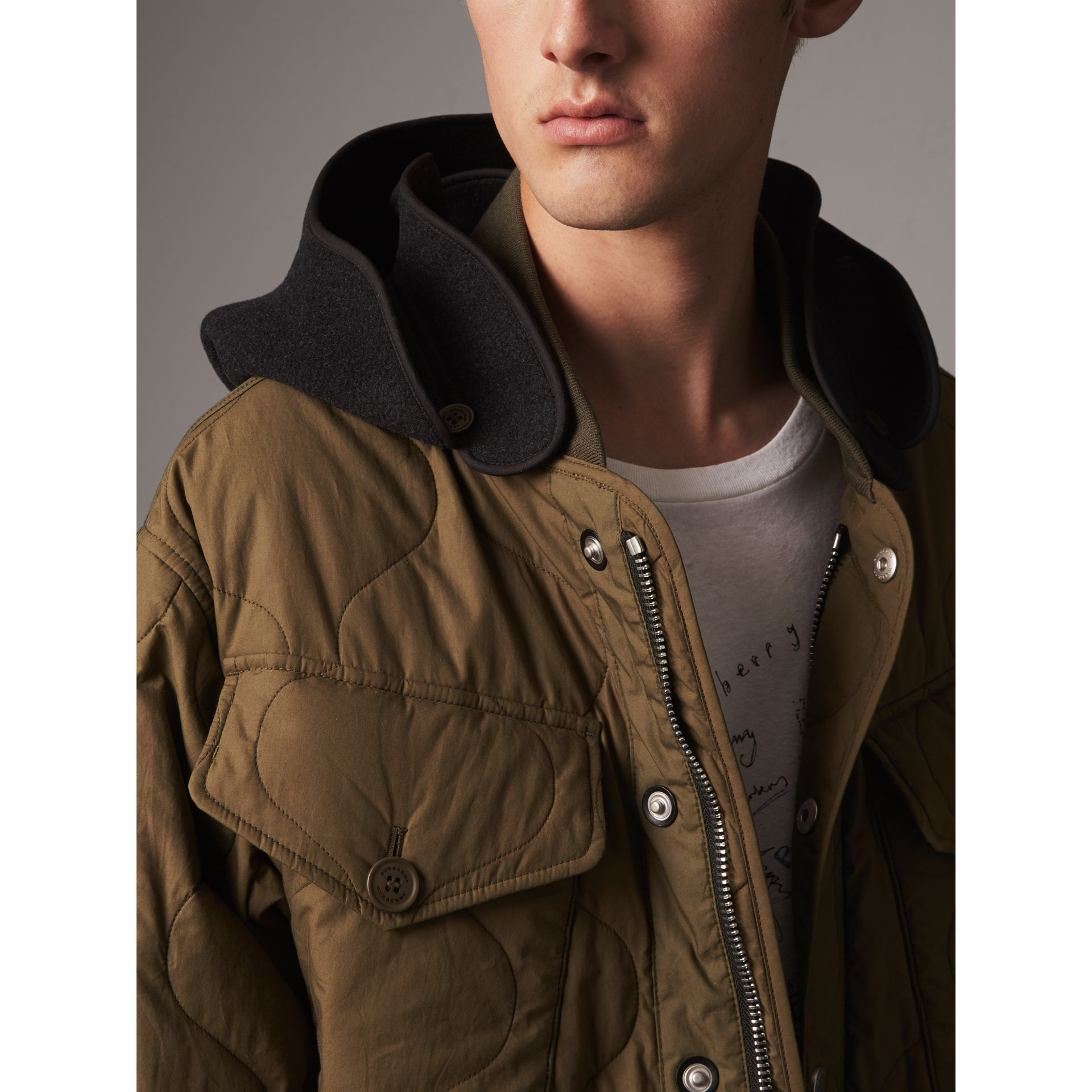 Detachable Hood Quilted Cotton Bomber Jacket in Olive Green - Men | Burberry Canada - gallery image 1