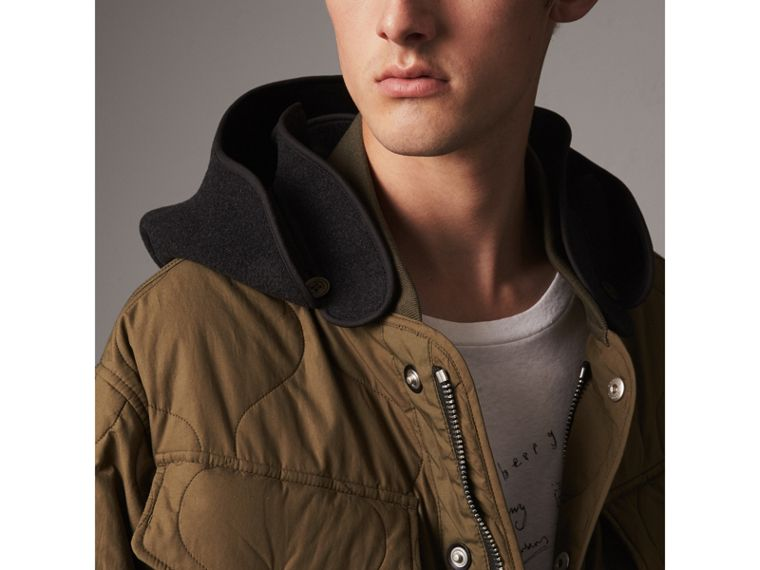Detachable Hood Quilted Cotton Bomber Jacket in Olive Green - Men | Burberry - cell image 1