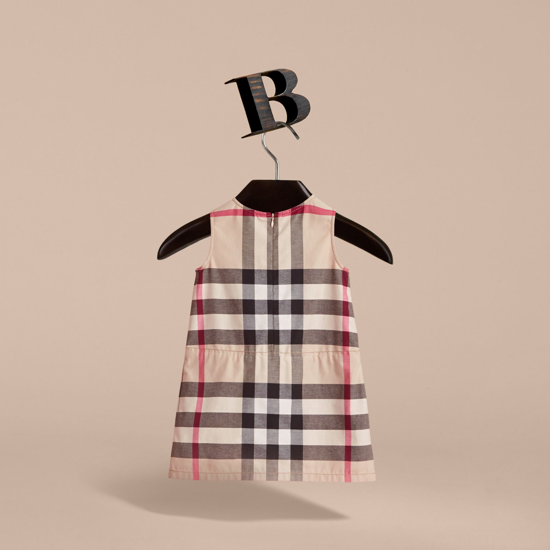Pleated Check Washed Cotton A-line Dress in Stone - Girl | Burberry Hong Kong - gallery image 4