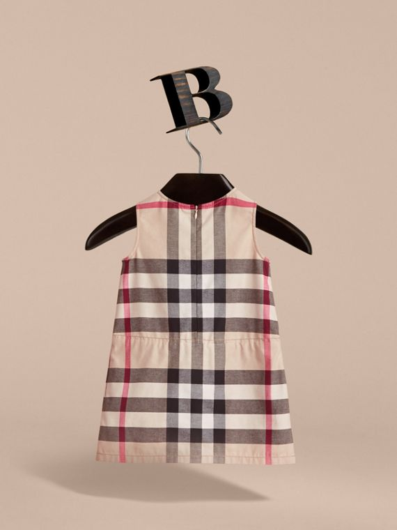 Pleated Check Washed Cotton A-line Dress - cell image 3