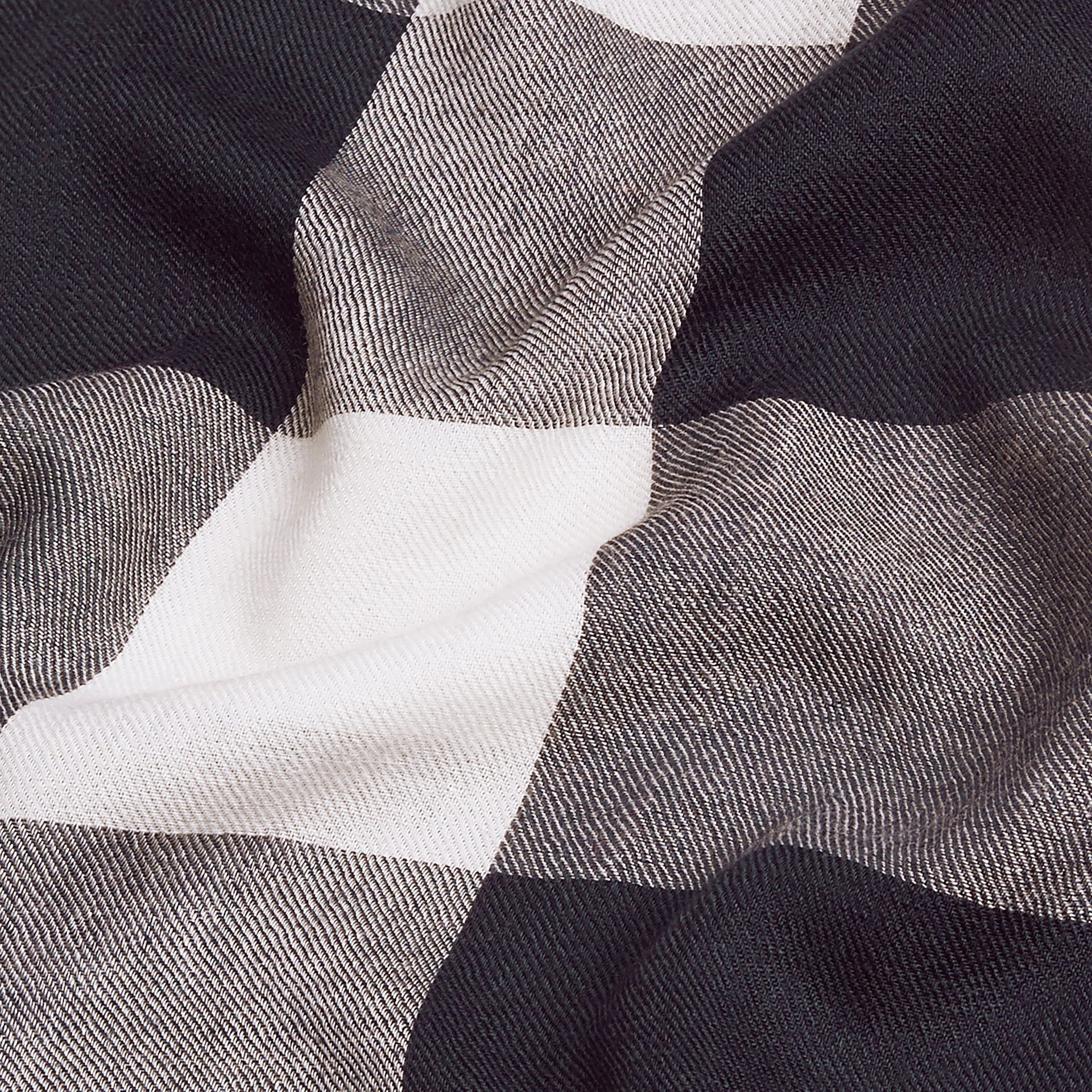 The Lightweight Cashmere Scarf in Check Navy - gallery image 5
