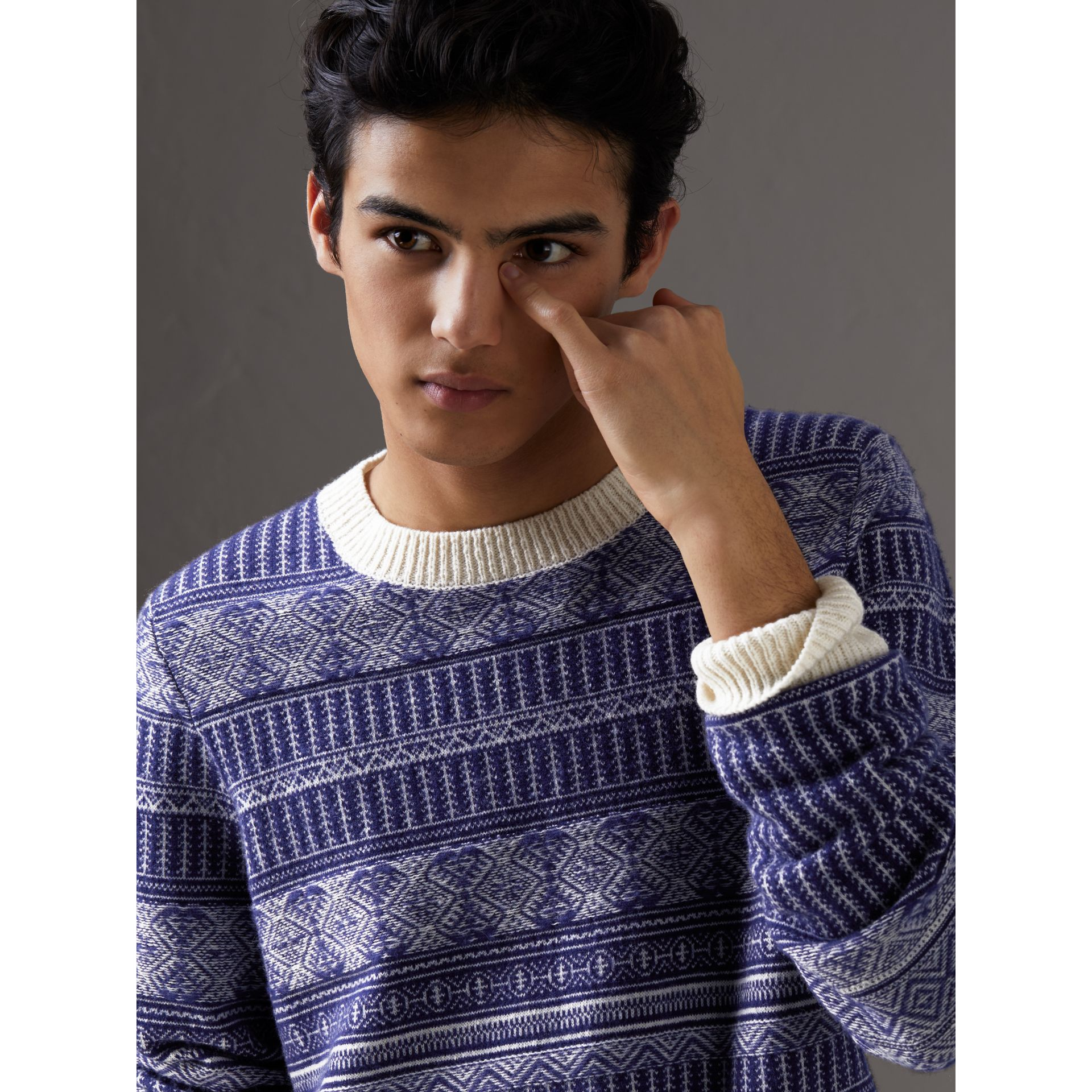 Fair Isle Wool Cashmere Sweater in Bright Navy - Men | Burberry - gallery image 1