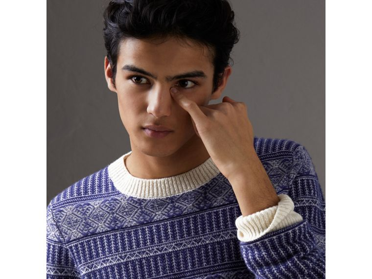 Fair Isle Wool Cashmere Sweater in Bright Navy - Men | Burberry Australia - cell image 1