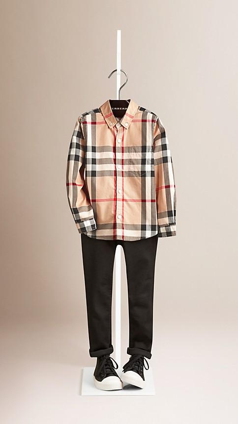 Nouveau check classique Chemise en coton check à col américain - Image 1