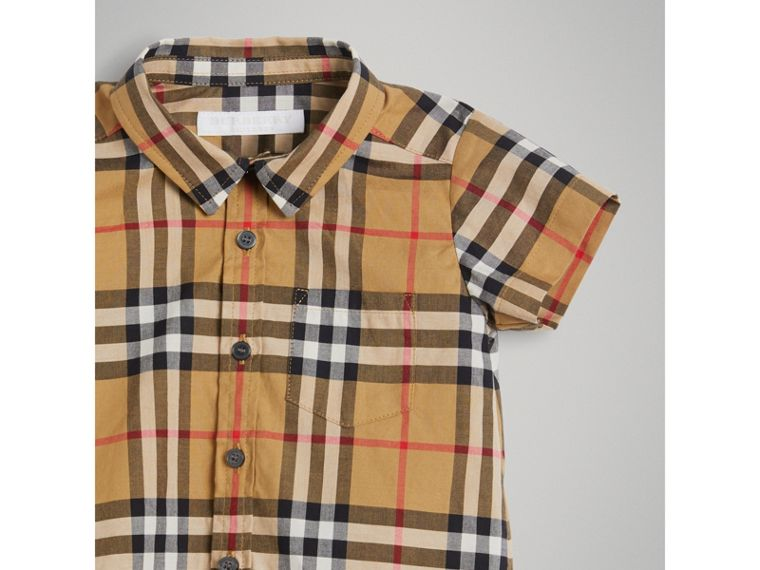 Short-sleeve Vintage Check Cotton Shirt in Antique Yellow | Burberry Australia - cell image 4