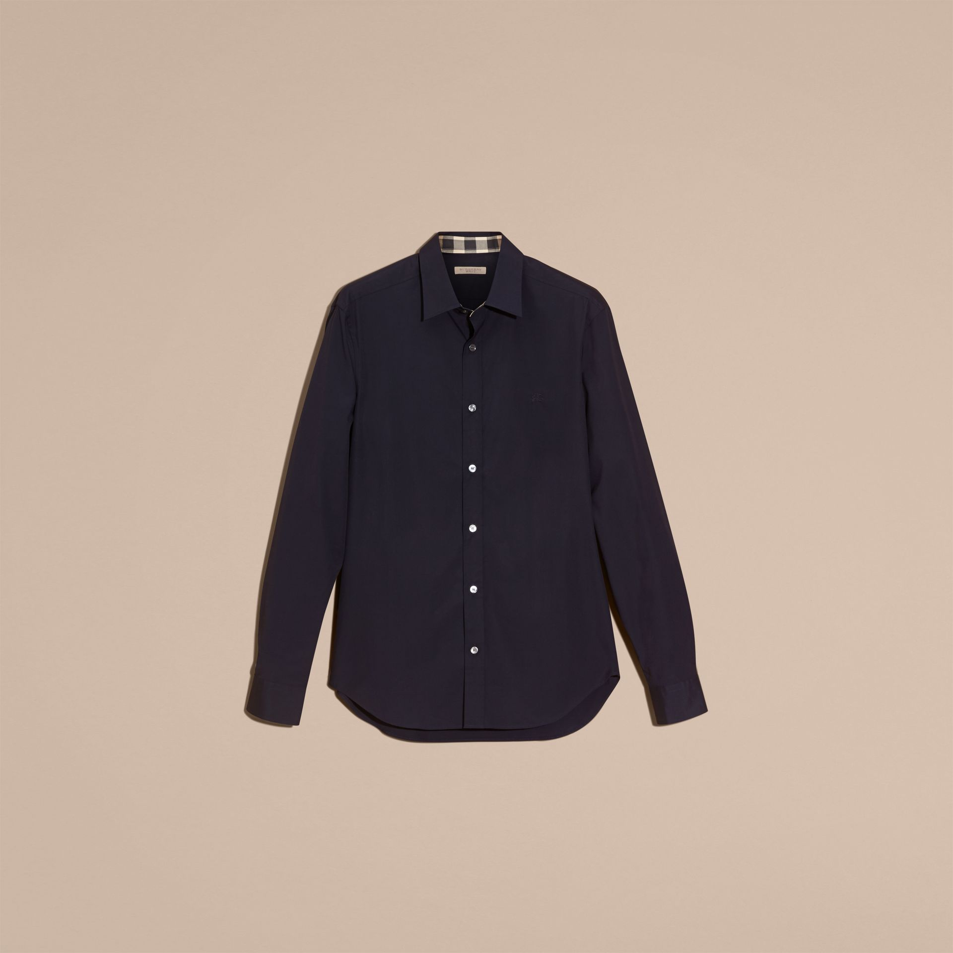 Check Detail Stretch Cotton Poplin Shirt in Navy - Men | Burberry - gallery image 4