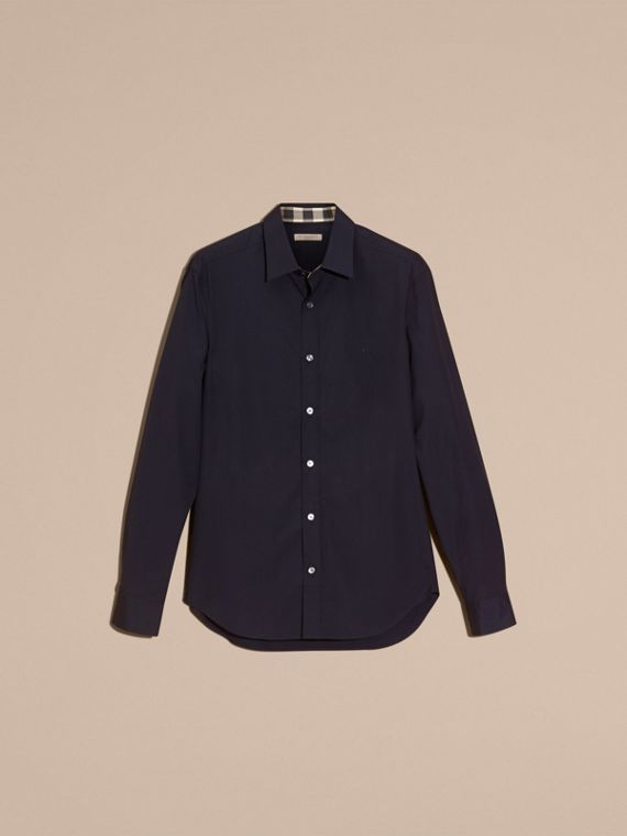Check Detail Stretch Cotton Poplin Shirt in Navy - cell image 3