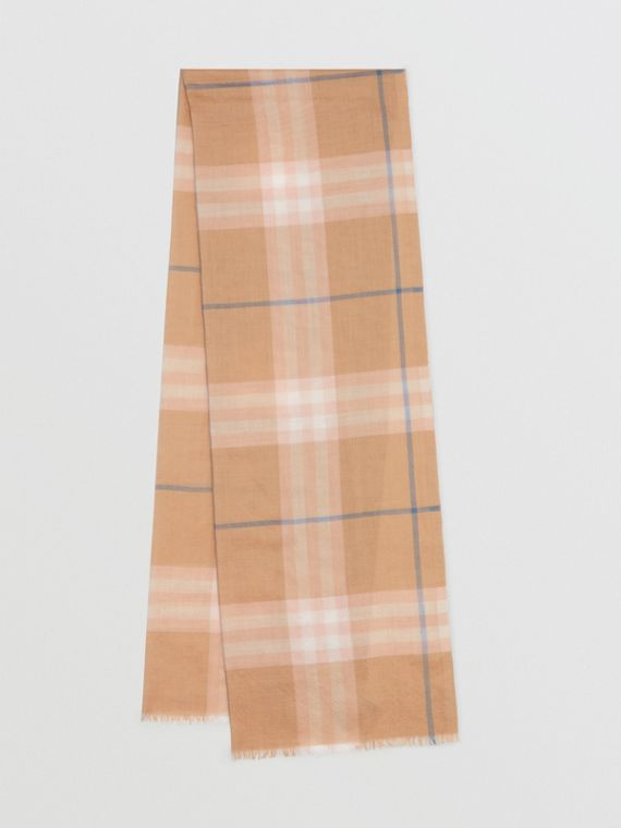 Lightweight Check Wool and Silk Scarf in Fawn