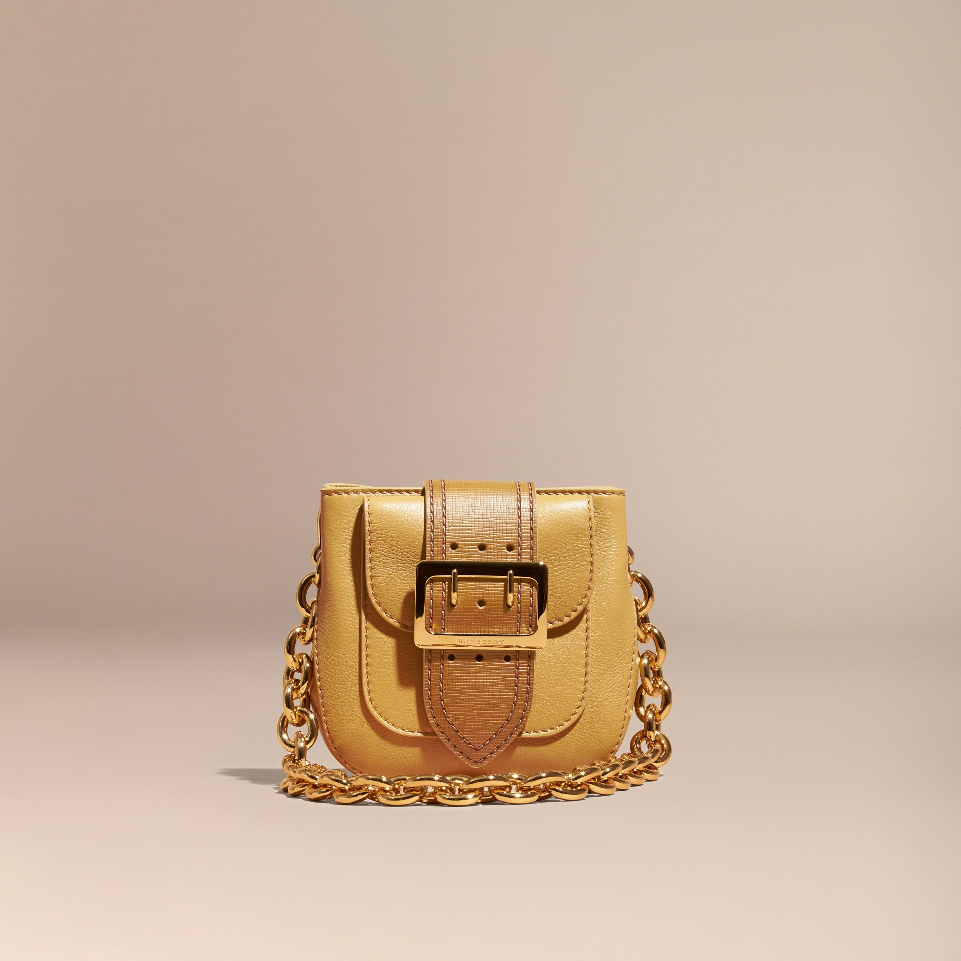 Ochre yellow The Small Square Buckle Bag in Leather - gallery image 9