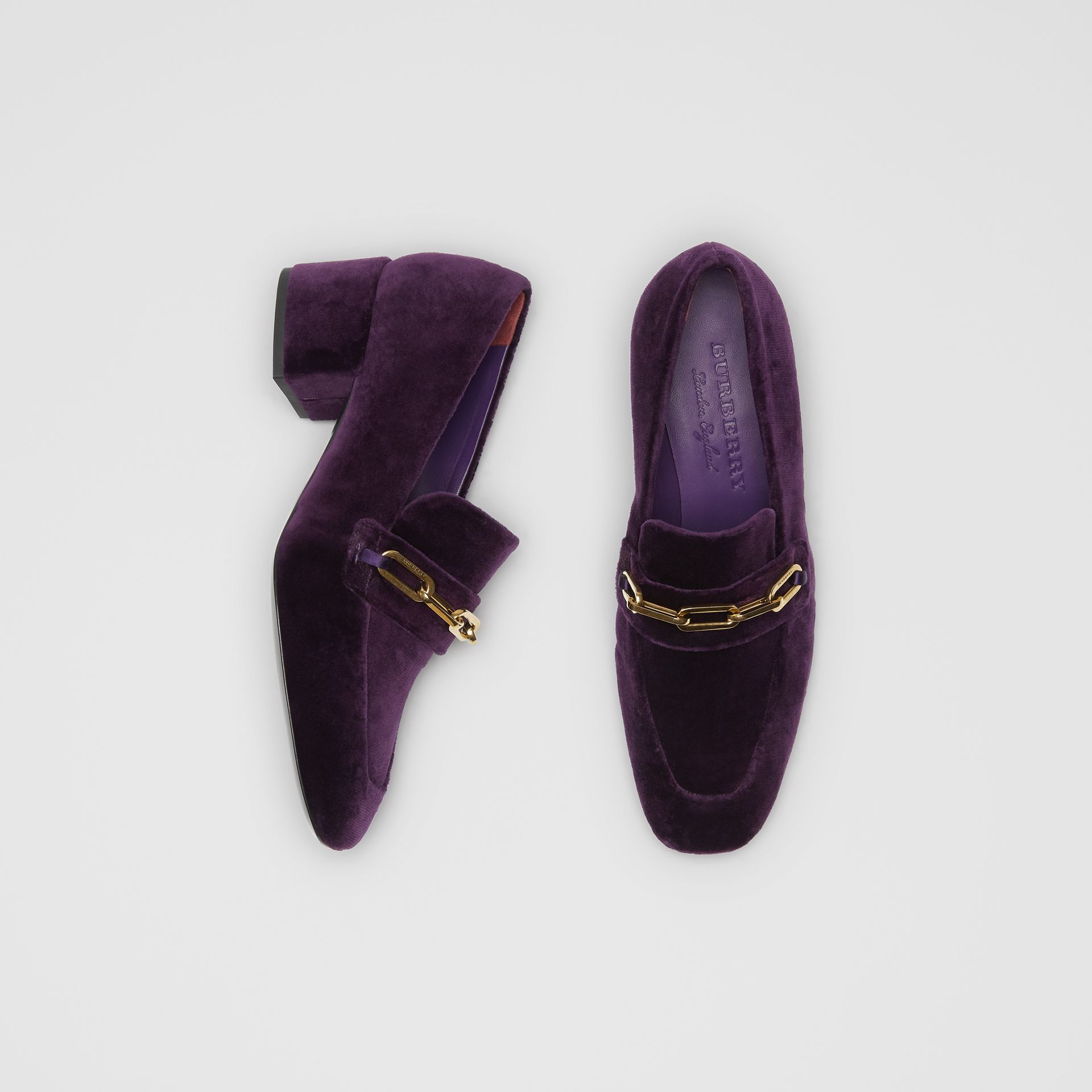 Link Detail Velvet Block-heel Loafers in Dark Elderberry - Women | Burberry - gallery image 0