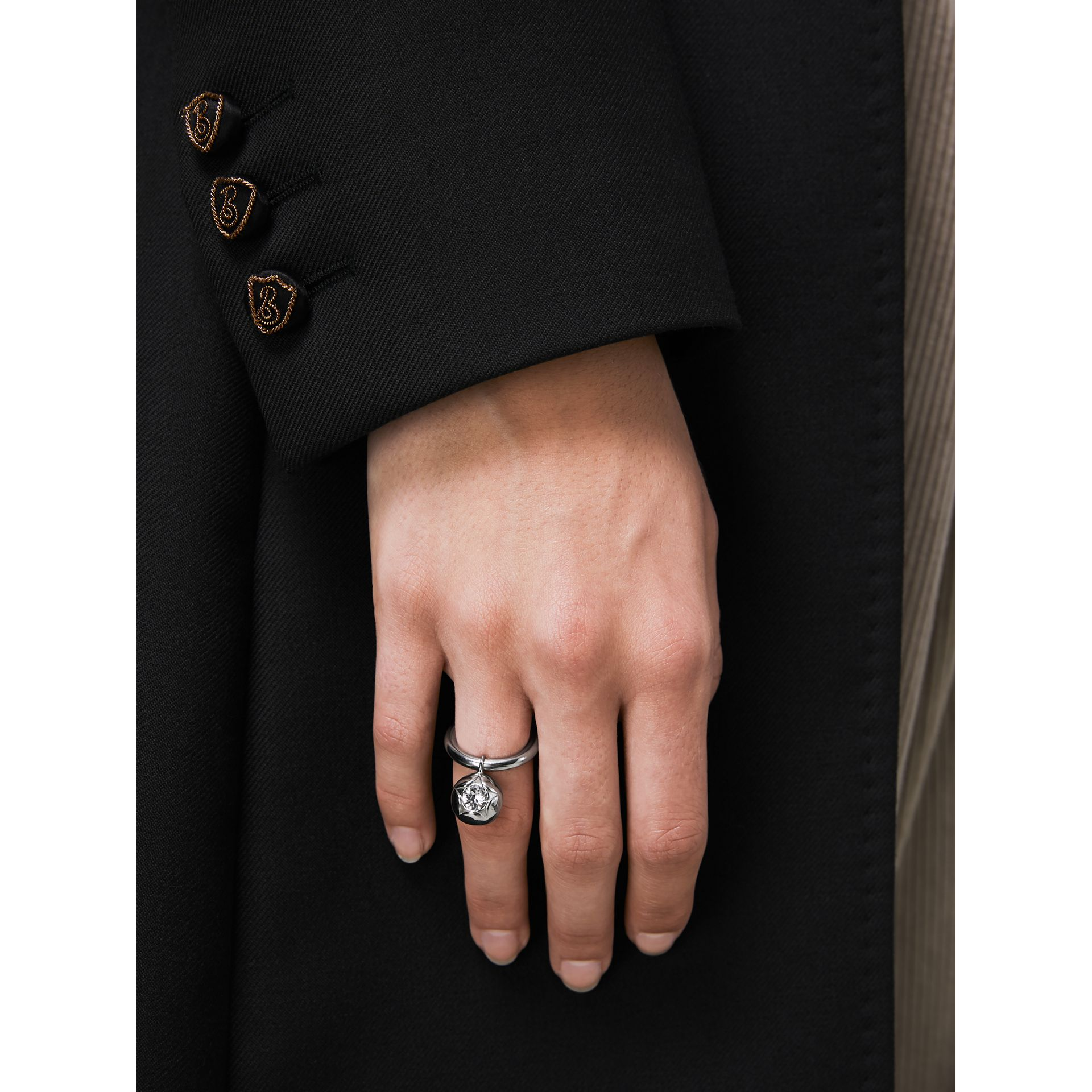Crystal Charm Palladium-plated Ring in Palladio/crystal - Women | Burberry Canada - gallery image 2
