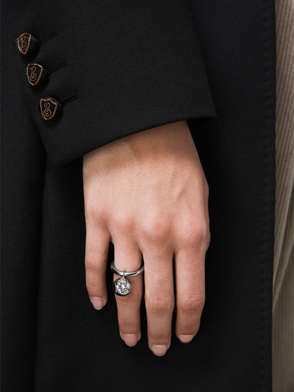 Crystal Charm Palladium-plated Ring in Palladio/crystal - Women | Burberry - cell image 2
