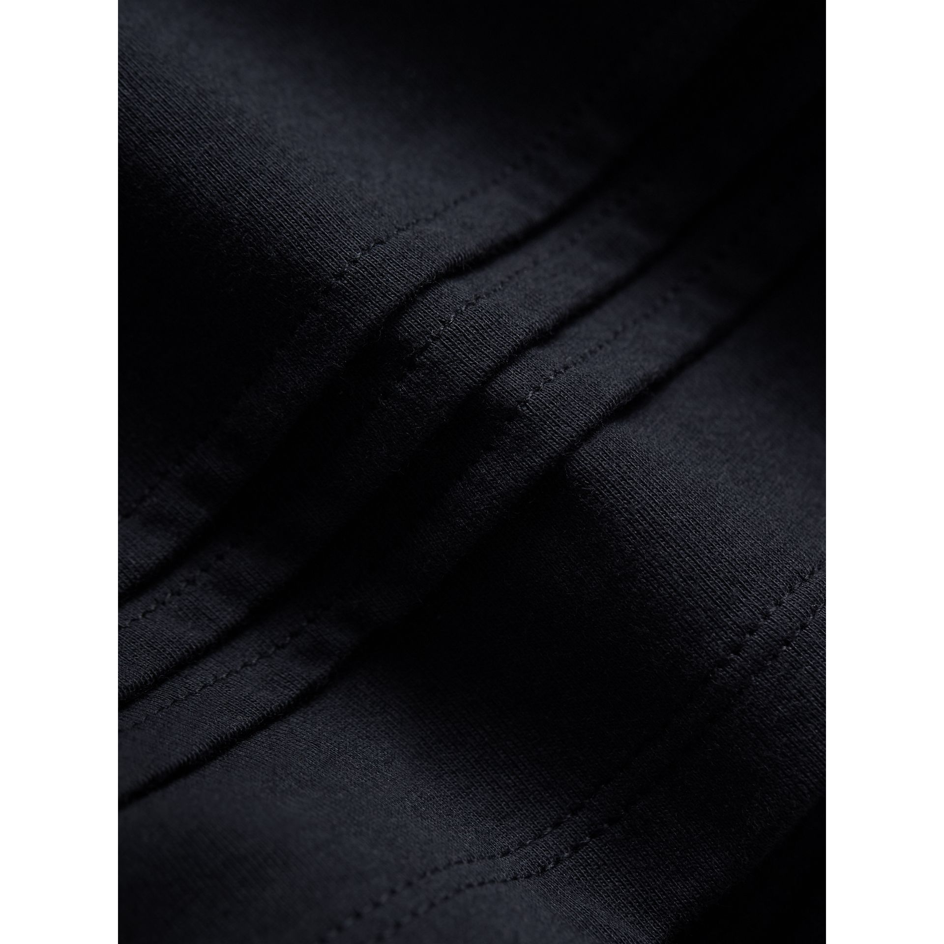 Pleat and Check Detail Cotton Top in Navy | Burberry - gallery image 2